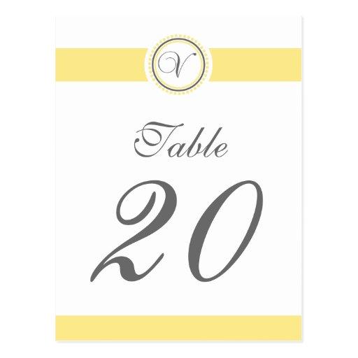 V Dot Circle Monogram Table Number (Yellow / Gray) Postcard