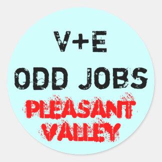 V+E Odd Jobs Classic Round Sticker