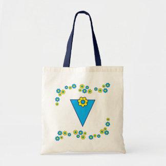 V en tote azul del monograma de Flores Bolsa
