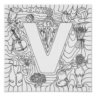 V está para el color de las verduras en letra posters