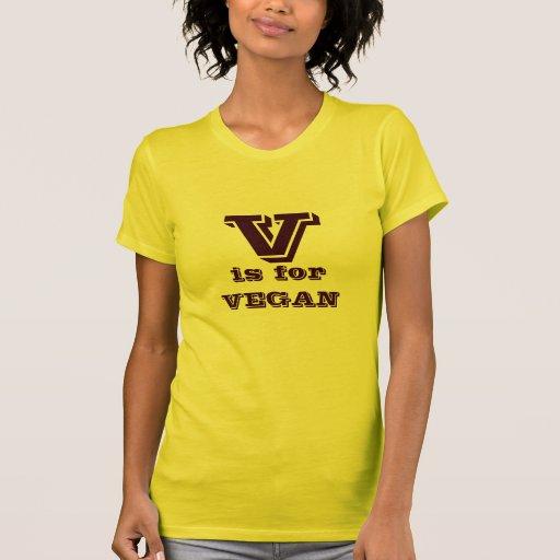 V está para el VEGANO Camisetas
