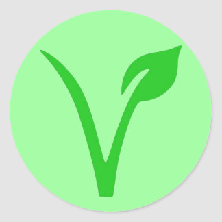 V está para el vegano pegatina redonda