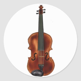 V está para el violín pegatina redonda