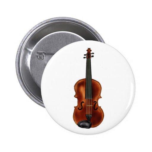 V está para el violín pin redondo de 2 pulgadas