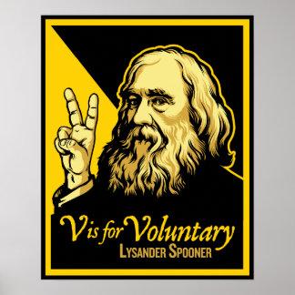 V está para la impresión voluntaria de Lysander Sp Póster