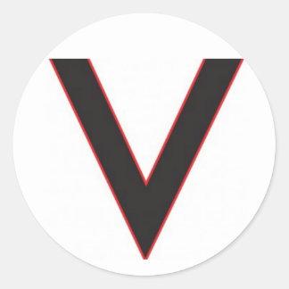 v está para la victoria etiquetas redondas