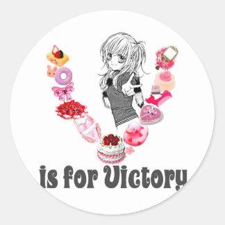 V está para la victoria etiqueta redonda