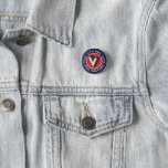 """V FOR VACCINE Pin<br><div class=""""desc"""">I thought that folks with vaccinations should have a pin in celebration. A new take on the old V is for Victory pin from the WWII era.</div>"""