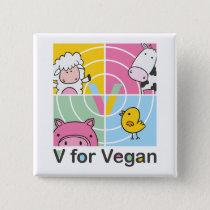 V for vegan button