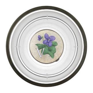 V for Violet Floral Monogram Bowl