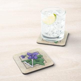 V for Violet Floral Monogram Drink Coaster