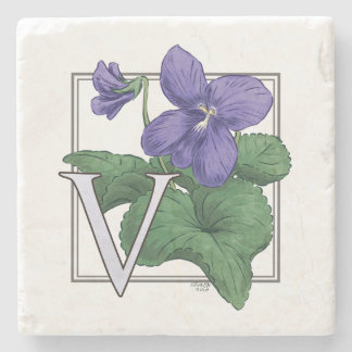 V for Violet Floral Monogram Stone Coaster