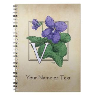 V for Violet Flower Alphabet Monogram Notebook
