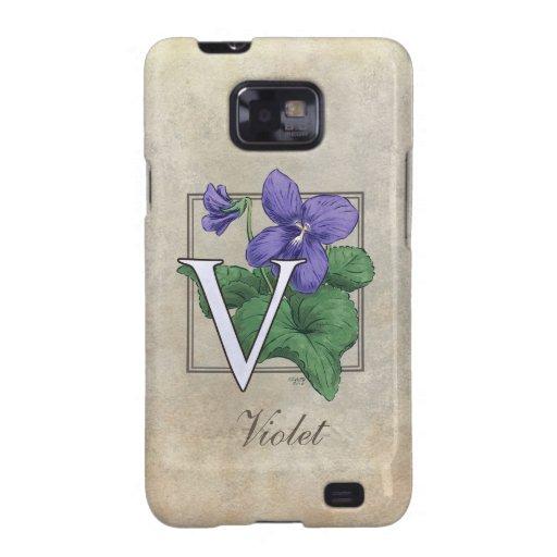 V for Violet Flower Monogram Samsung Galaxy SII Cover