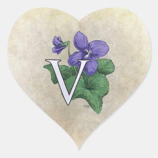 V for Violet Flower Monogram Heart Sticker