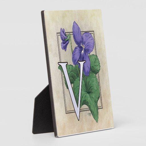 V for Violet Flower Monogram Plaque