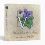 V for Violet Flower Monogram Small 3 Ring Binders