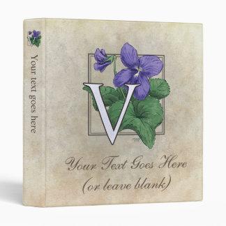 V for Violet Flower Monogram Small Binder