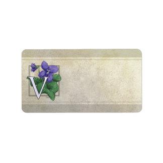 V for Violets Flower Monogram Address Label