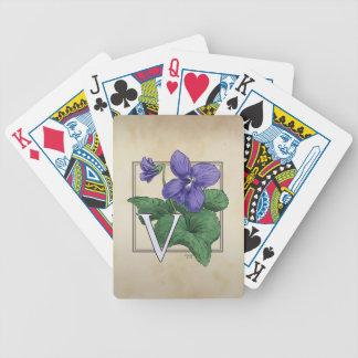 V for Violets Flower Monogram Artwork Bicycle Playing Cards
