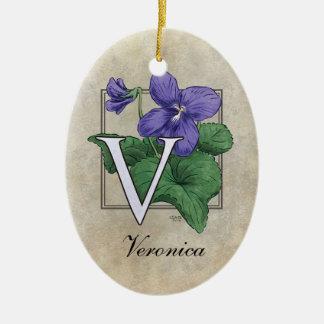 V for Violets Flower Monogram Ceramic Ornament