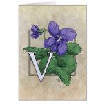 V for Violets Flower Monogram Greeting Card