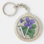 V for Violets Flower Monogram Key Chains