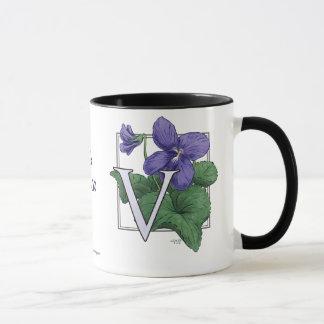 V for Violets Flower Monogram Mug