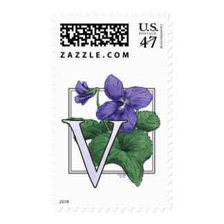 V for Violets Flower Monogram Postage