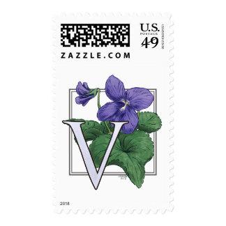 V for Violets Flower Monogram Postage