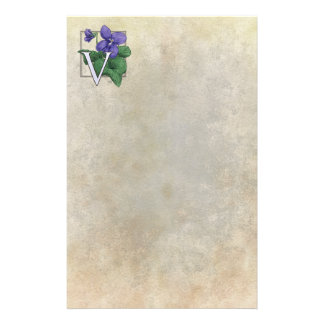 V for Violets Flower Monogram Stationery