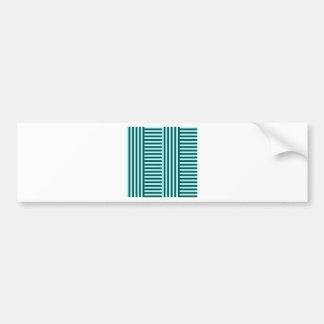V&H Simple Broad Stripes-Celeste and Deep Jungle Car Bumper Sticker