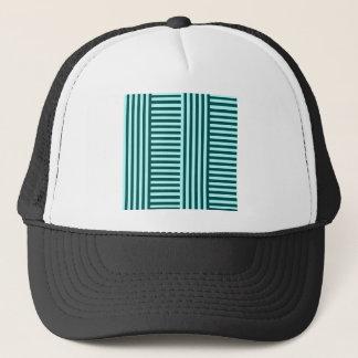 V&H Simple Broad Stripes-Celeste and Deep Jungle Trucker Hat