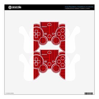 V&H Simple Broad Stripes - Red and Dark Scarlet Skin For PS3 Controller