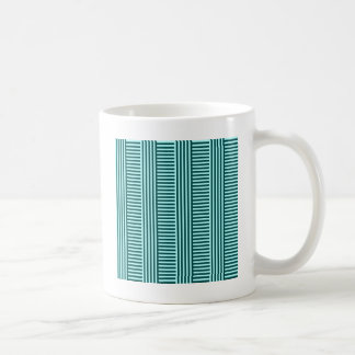 V&H Simple Stripes - Celeste and Deep Jungle Green Coffee Mug