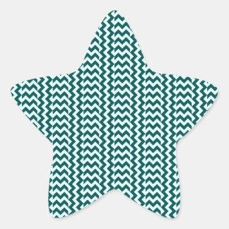 V&H Simple Zigzag - Celeste and Deep Jungle Green Star Sticker