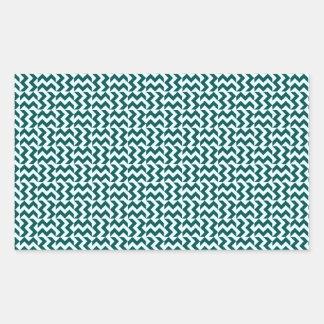 V&H Zigzag - Celeste and Deep Jungle Green Rectangular Sticker
