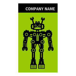 V Header - Photo - Robot - Green Double-Sided Standard Business Cards (Pack Of 100)