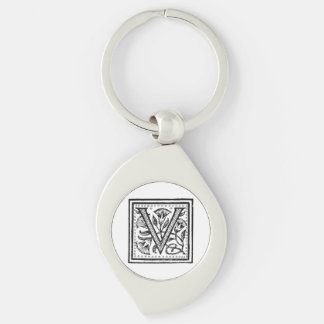 V Initial from A Monk of Fife Silver-Colored Swirl Metal Keychain