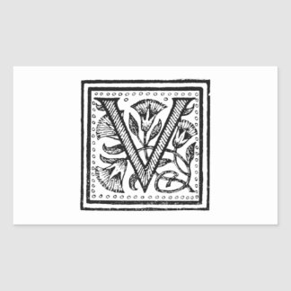 V Initial from A Monk of Fife Rectangular Stickers