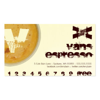 V - Initial Letter Foamy Coffee Cup Loyalty Punch Business Card