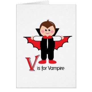 V is for Vampire Loveable Letters Halloween Card