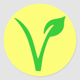 V is for Vegan Classic Round Sticker