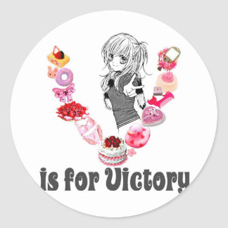 V is for Victory Classic Round Sticker