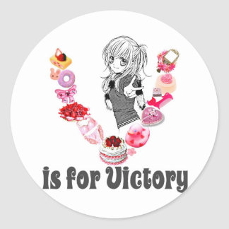V is for Victory Round Sticker