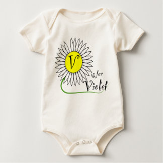 V is for Violet Daisy Baby Bodysuits