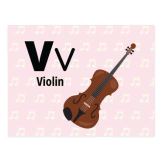 "V is for Violin - Alphabet Flash Card-5.5 x 4.25"" Postcard"