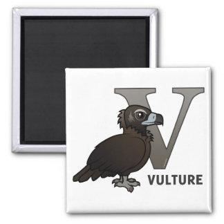 V is for Vulture 2 Inch Square Magnet