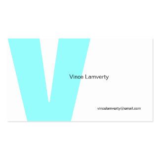V Letter Alphabet Business Card White Blue