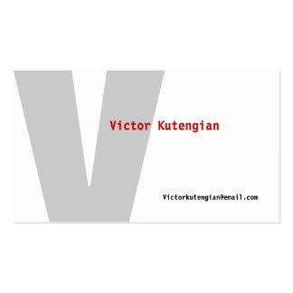 V Letter Alphabet Business Card White Grey